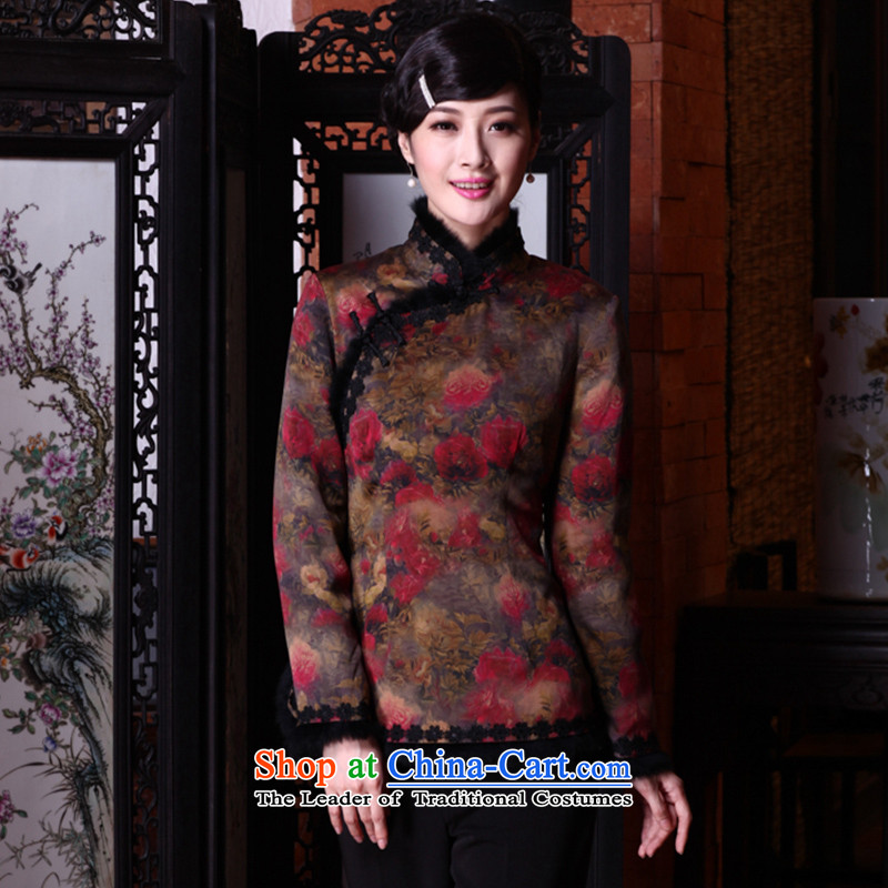 The seal of the?Winter 2015 new cloud of incense yarn retro Tang dynasty long-sleeved silk cotton Chinese qipao folder jacket picture color?M