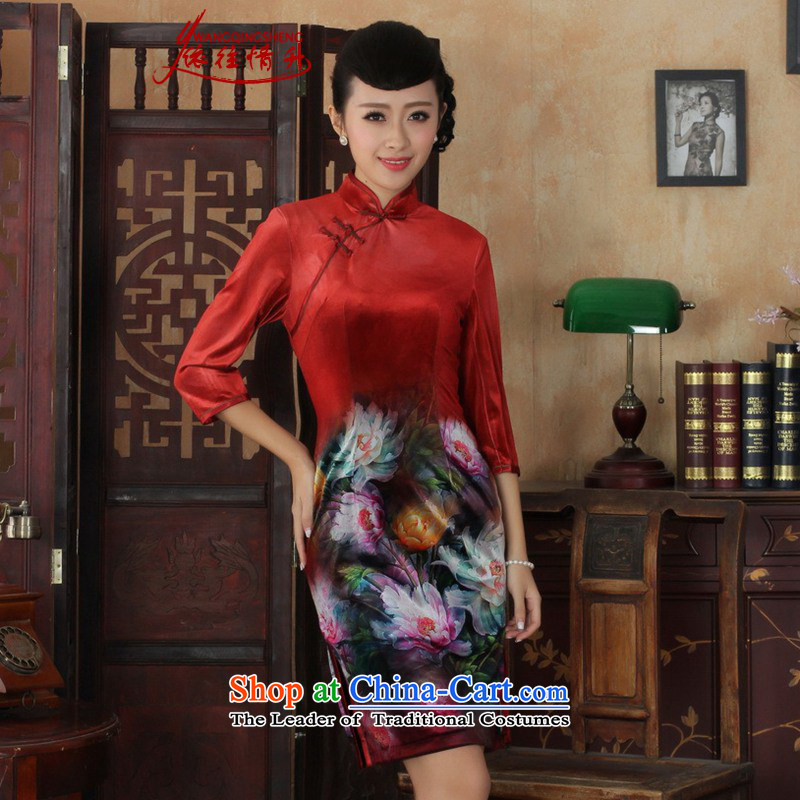 In accordance with the love in the spring and fall new ethnic women cheongsam Kim scouring pads Poster 7 cuff cheongsam dress ancient /TD0034# Sau San figure?XL