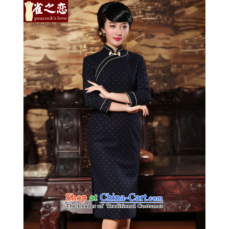 Love of birds on the long�Spring 2015 new retro Sau San 7 Double-side of the gross cuff qipao QC660? Content Wong�XL