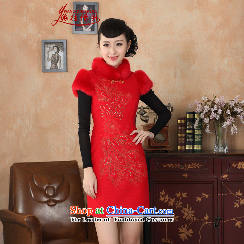 In accordance with the love new improvement in winter Tang Gown cheongsam collar suit sleeveless women cheongsam dress Sau San ancient _Y0030_ RED燬