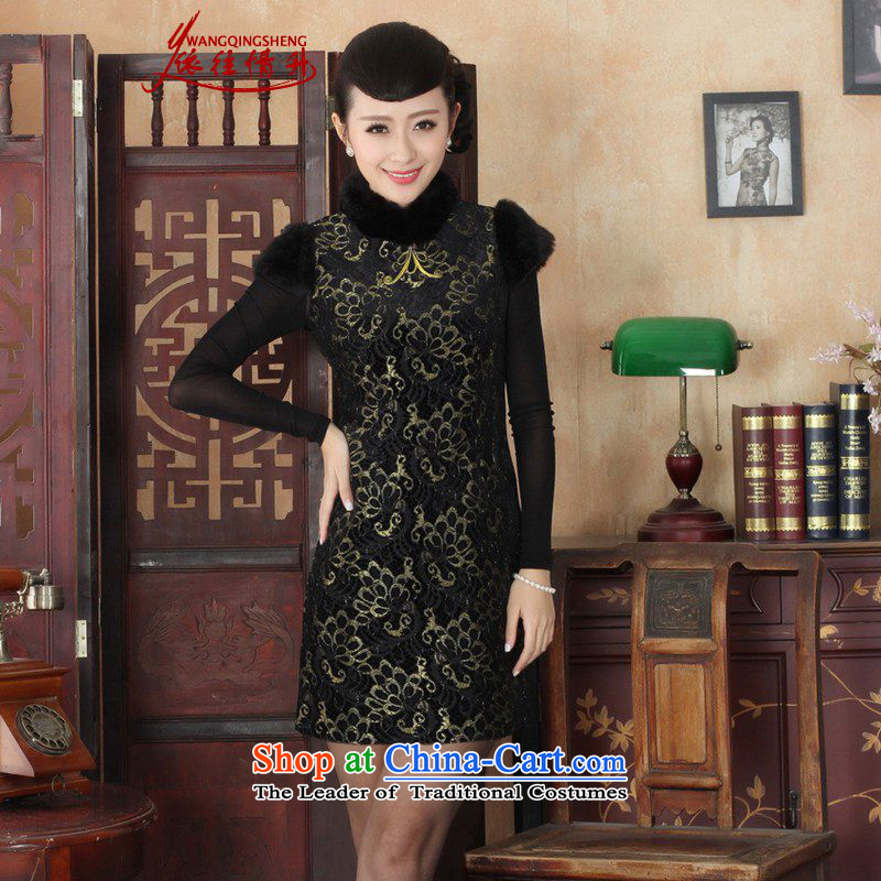 In accordance with the Love l new winter Tang dynasty qipao retro improved lace sleeveless cheongsam dress Sau San figure XL