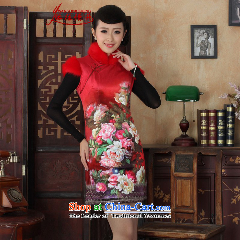 In accordance with the Love l winter improved Tang dynasty cheongsam collar poster Classic tray clip sleeveless cheongsam dress?-C rocketed to Sau San?M