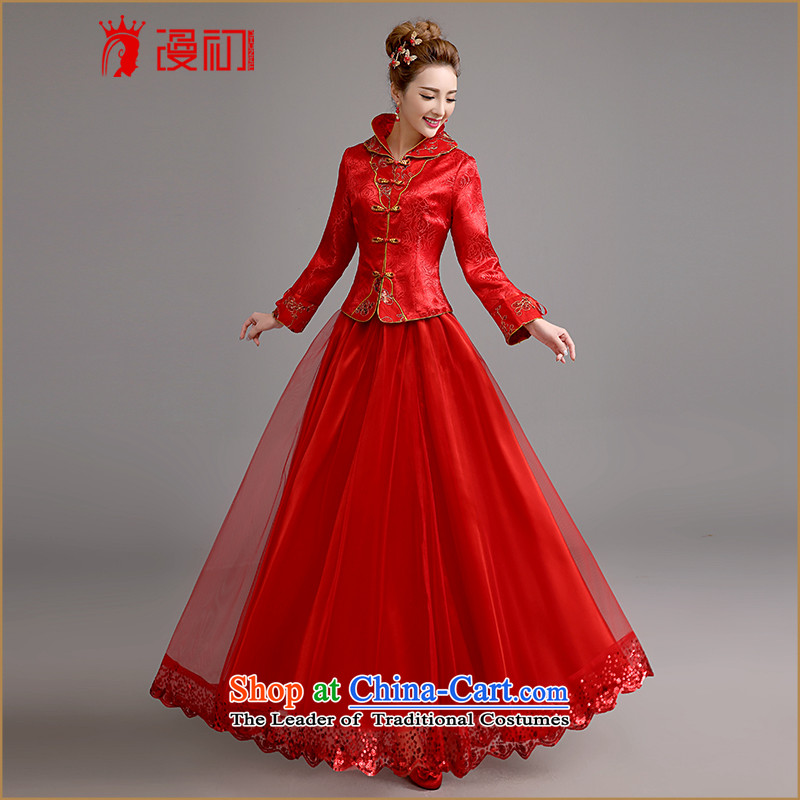 In the early?2015 new man winter bows qipao retro graphics thin thick wedding dress skirts, bridal dresses winter bows qipao RED?M code