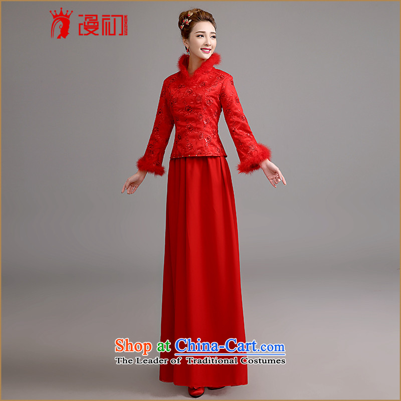 At the beginning of Castores Magi bride stylish new 2015 long-sleeved winter marriage qipao gown thickened the winter bows serving long red red?M code