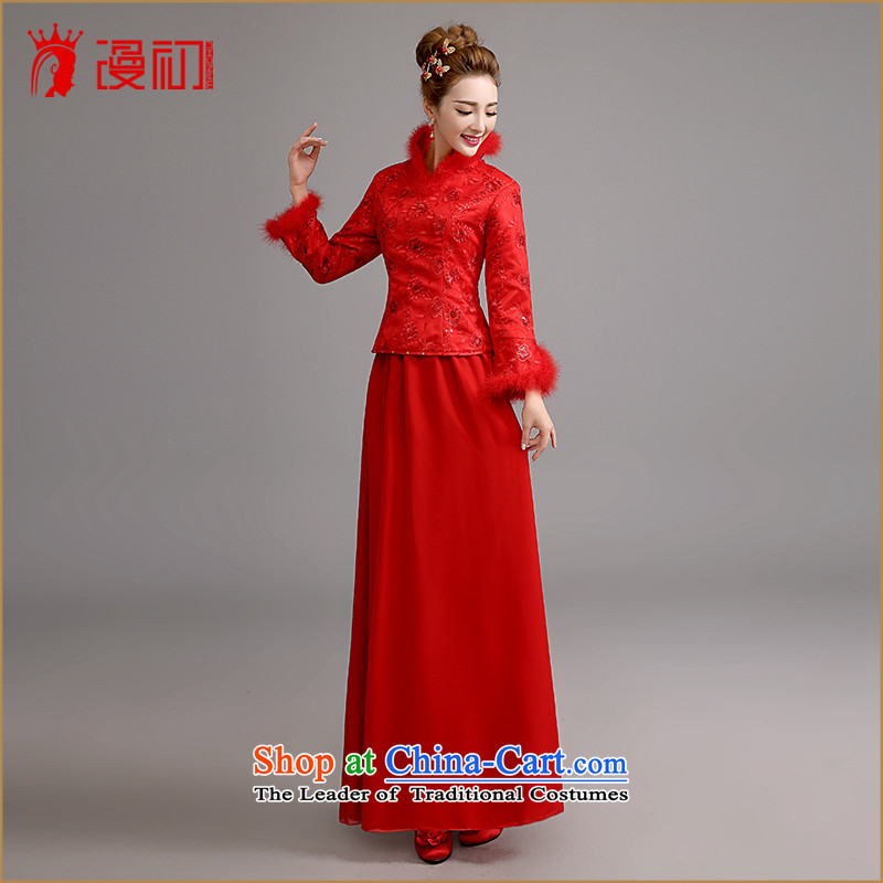 At the beginning of Castores Magi bride stylish new 2015 long-sleeved winter marriage qipao gown thickened the winter bows serving long red red M code, spilling the early shopping on the Internet has been pressed.