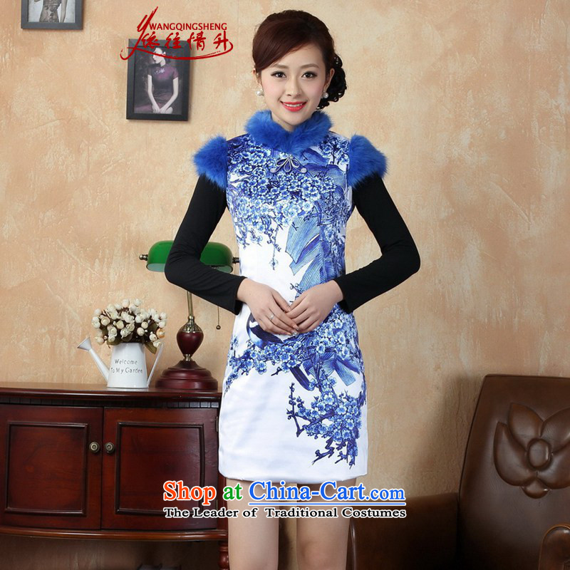 In accordance with the love spring new winter in Tang Dynasty qipao retro improved collar stitching poster qipao skirt as shown in Figure Sau San?XL