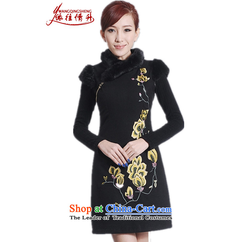 In accordance with the Love l New Winter Female improved Tang dynasty qipao gown need collar embroidered sleeveless cheongsam dress Sau San Figure�L