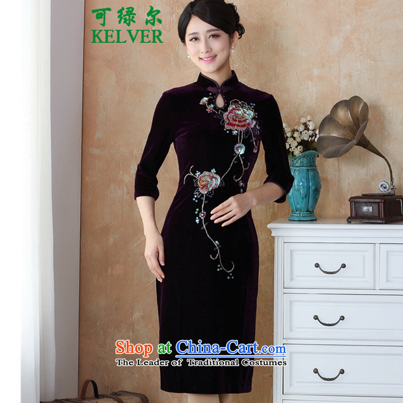 To Green, autumn and winter new women Tang Dynasty Silk Cheongsam scouring pads in the Pearl River Delta, Sau San manually staple cheongsam dress -4# long M