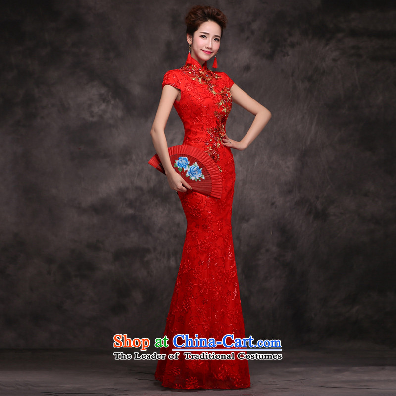 Jie mija bows Service Bridal Fashion 2015 new red qipao fall short-sleeved marriage Chinese Dress long Sau San Red�XS