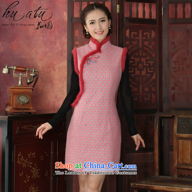 Floral autumn and winter cheongsam dress Tang Dynasty Chinese collar stylish thick lace qipao rabbit hair clip cheongsam dress dresses flower pink燲L
