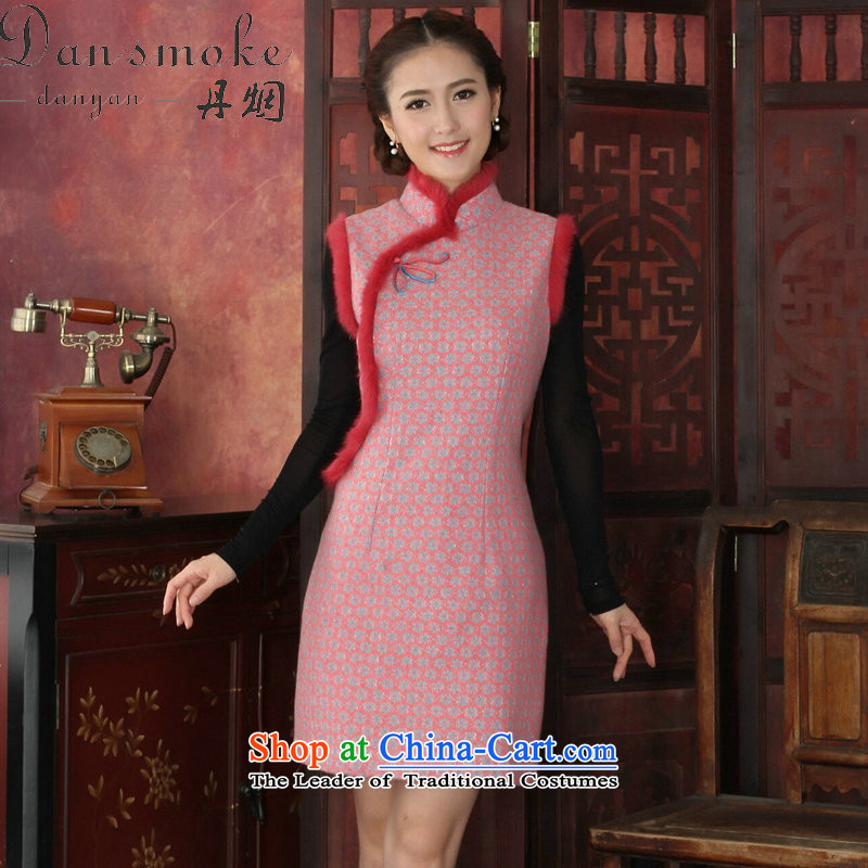 Dan smoke autumn and winter cheongsam dress Tang Dynasty Chinese collar stylish thick lace qipao rabbit hair clip cheongsam dress dresses flower pink�S
