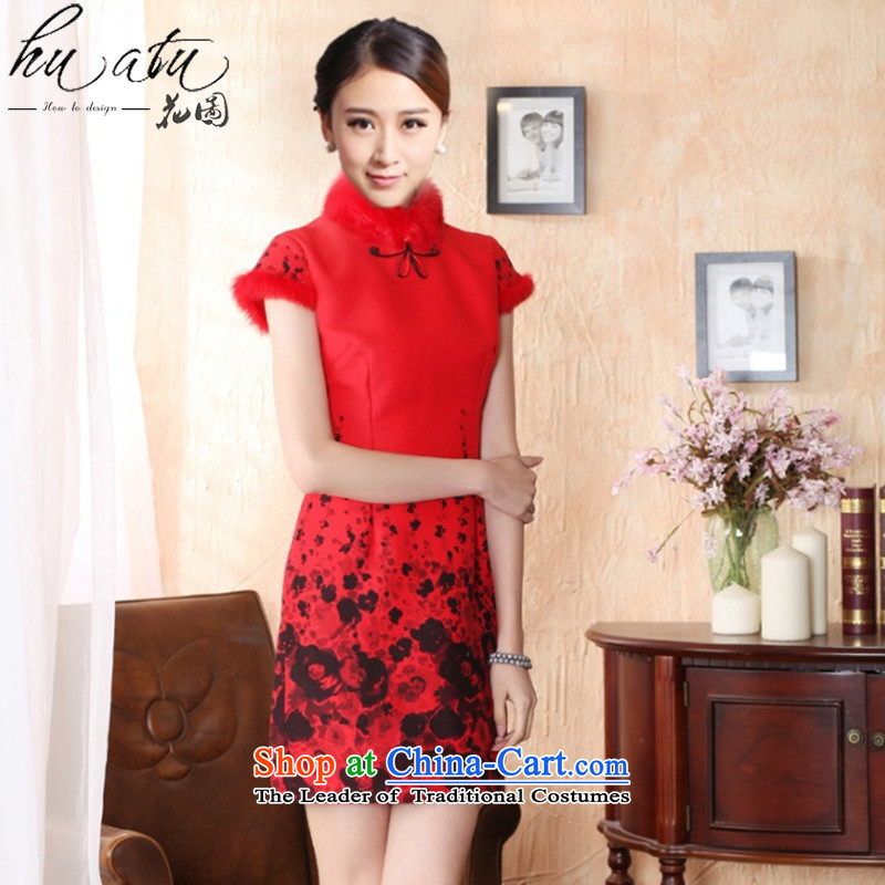 Floral autumn and winter cheongsam dress Tang dynasty gross rabbit hair for improved? bride qipao qipao qipao annual meeting of festivity red red燬