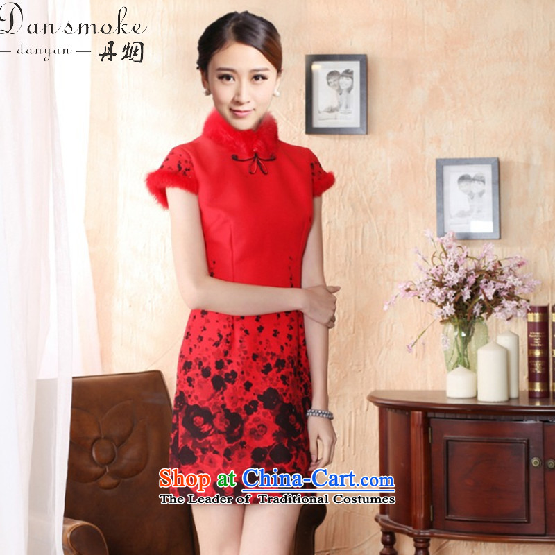 Dan smoke autumn and winter cheongsam dress Tang dynasty gross rabbit hair for improved? bride qipao qipao qipao annual meeting of festivity red red?XL