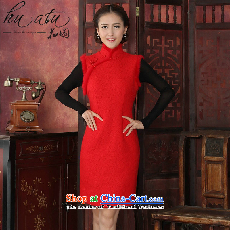 Floral qipao Tang dynasty women for winter cheongsam thick composite lace collar rabbit hair for jubilation cheongsam dress cheongsam dress red L