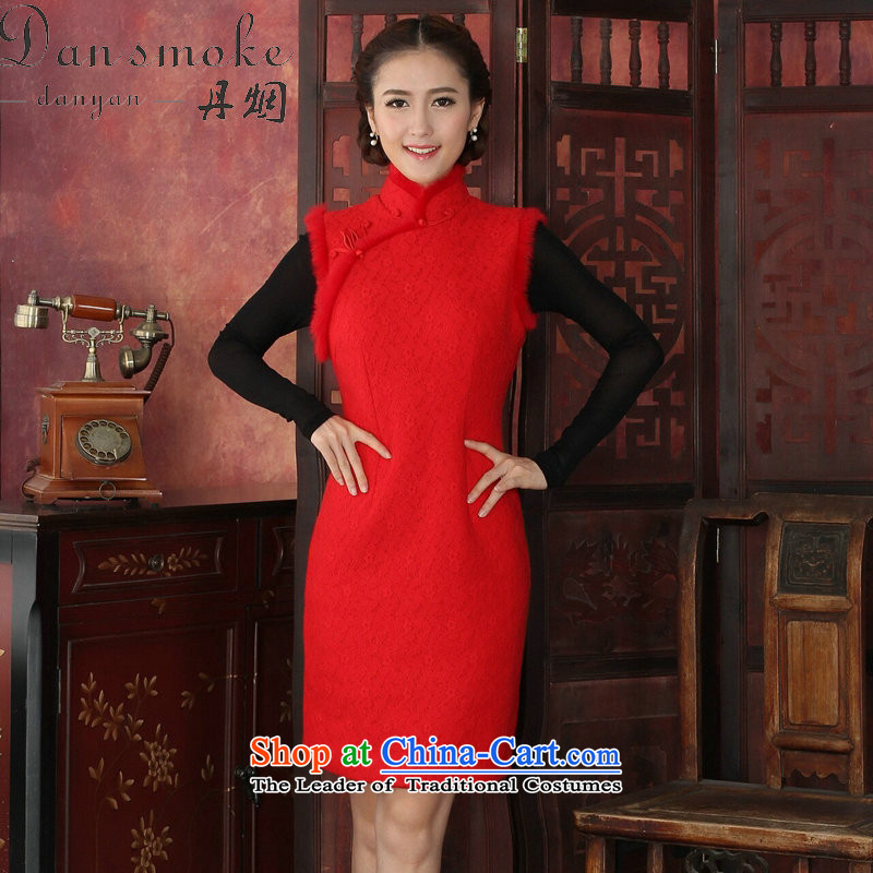 Dan smoke cheongsam dress Tang dynasty winter clothing qipao thick composite lace collar rabbit hair for jubilation cheongsam dress cheongsam dress Red�2XL