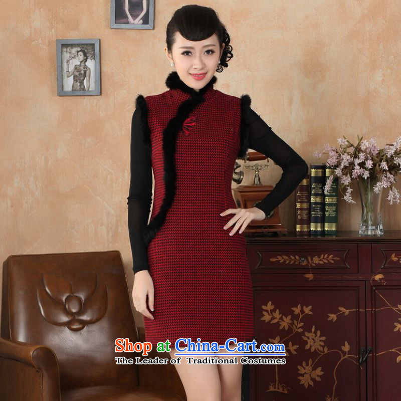 Shanghai, optimize IPO Chinese improved cheongsam dress short skirt for winter new improved grid wool is reminiscent of the rabbit hair for a qipao�Y0031�34/M red
