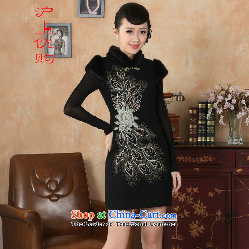 Shanghai, optimize IPO Chinese improved cheongsam dress short skirt for winter new retro-l'oeil embroidery cheongsam?Y0030-a cotton Sau San?40/XXL black