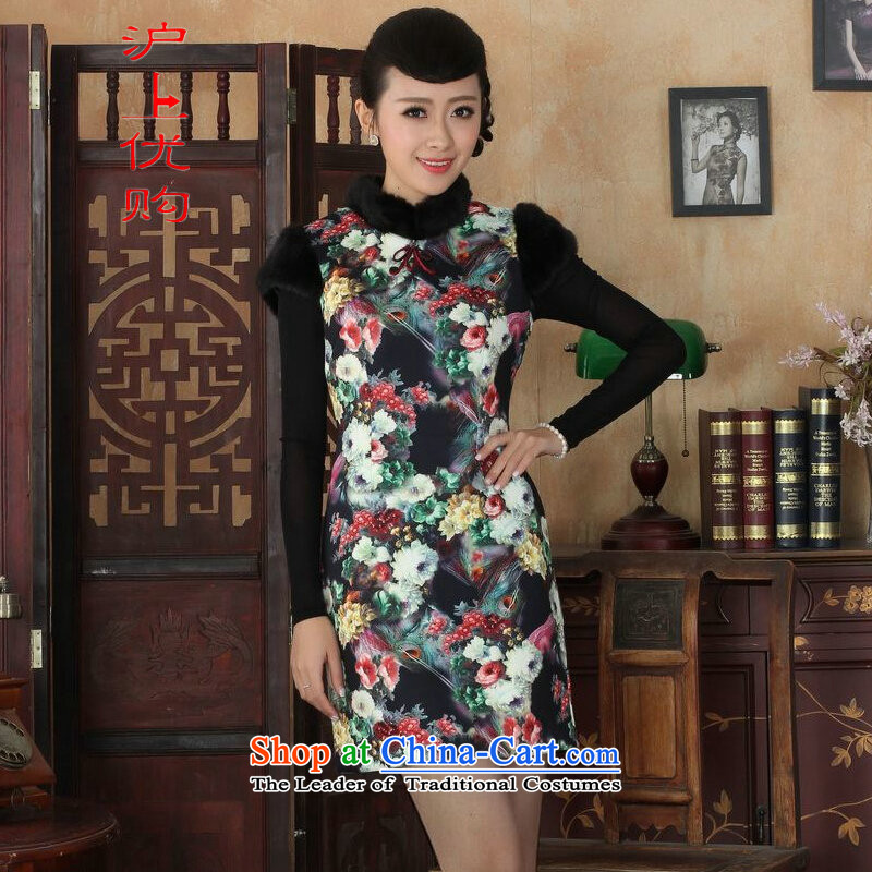 Shanghai, optimize IPO Chinese improved cheongsam dress short skirt for winter new superior color picture qipao wool�38/XL Sau San
