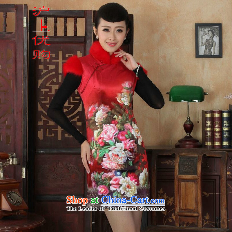 Shanghai, optimize IPO Chinese improved cheongsam dress short skirt for winter new Superior Plus cotton wool Sau San qipao 34_M red