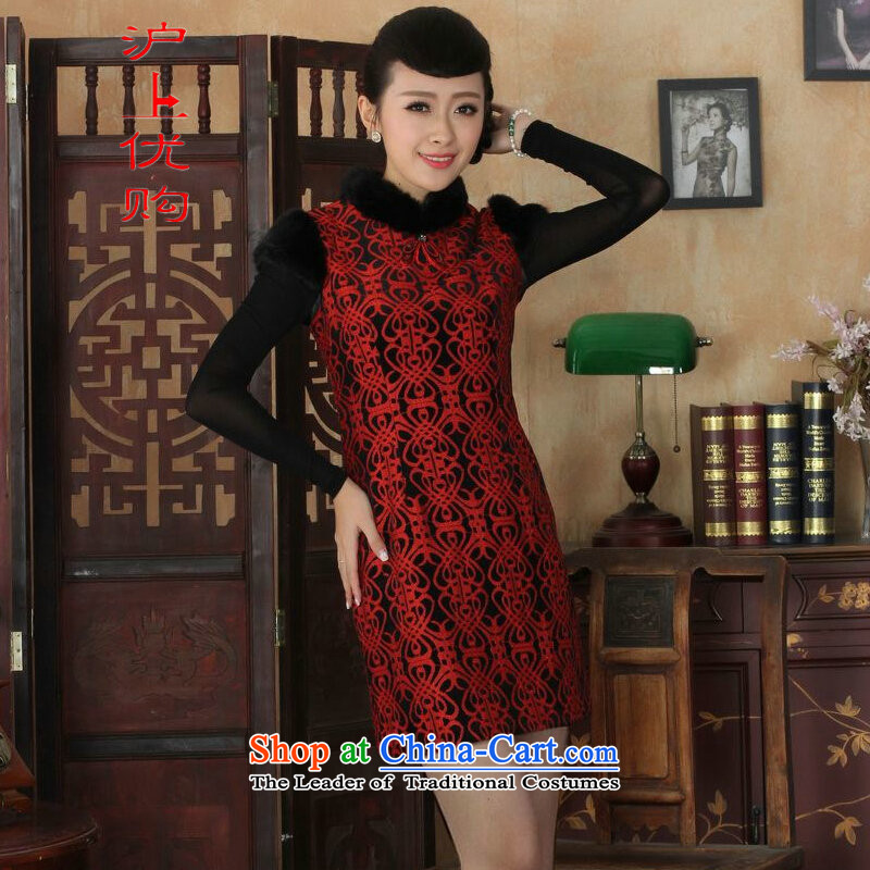 Shanghai, optimize IPO Chinese improved cheongsam dress short skirt for winter new superior ELASTIC LACE cheongsam dress Kim scouring pads Sau San�Y0024�40/XXL red
