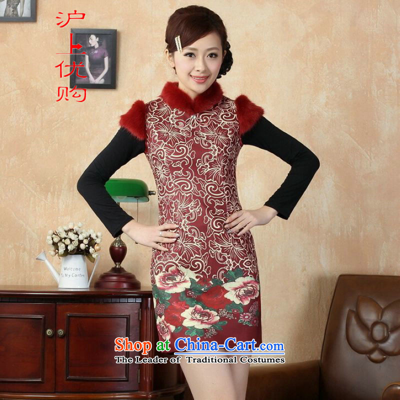Shanghai, optimize IPO Chinese improved cheongsam dress short skirt for winter new superior pure cotton聽Y0019 qipao red聽38_XL Sau San