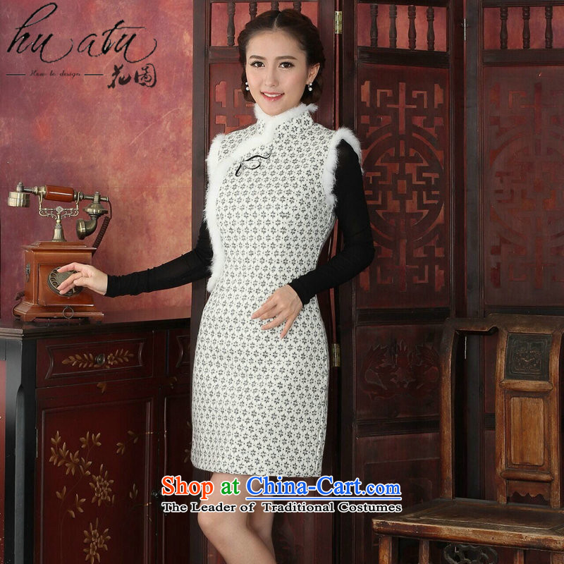 Floral qipao female Tang Dynasty Chinese autumn and winter collar rabbit hair style qipao banquet improved lace white�M thick cheongsam dress