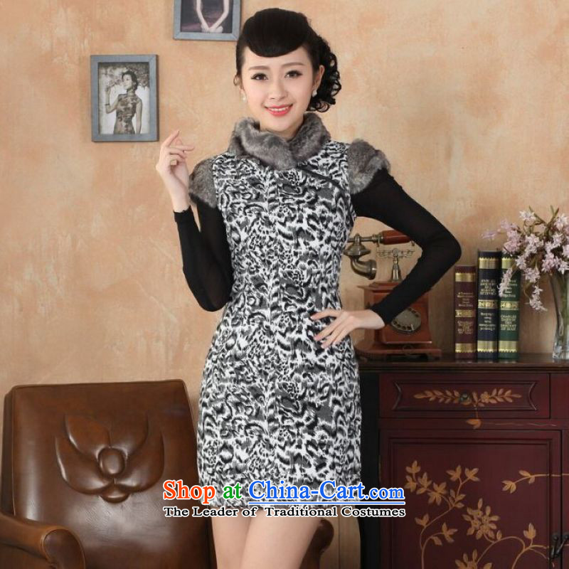 Ms Au King Mansion to Chinese improved cheongsam dress short skirt for winter new superior gross?   picture color�36/L Cheongsam
