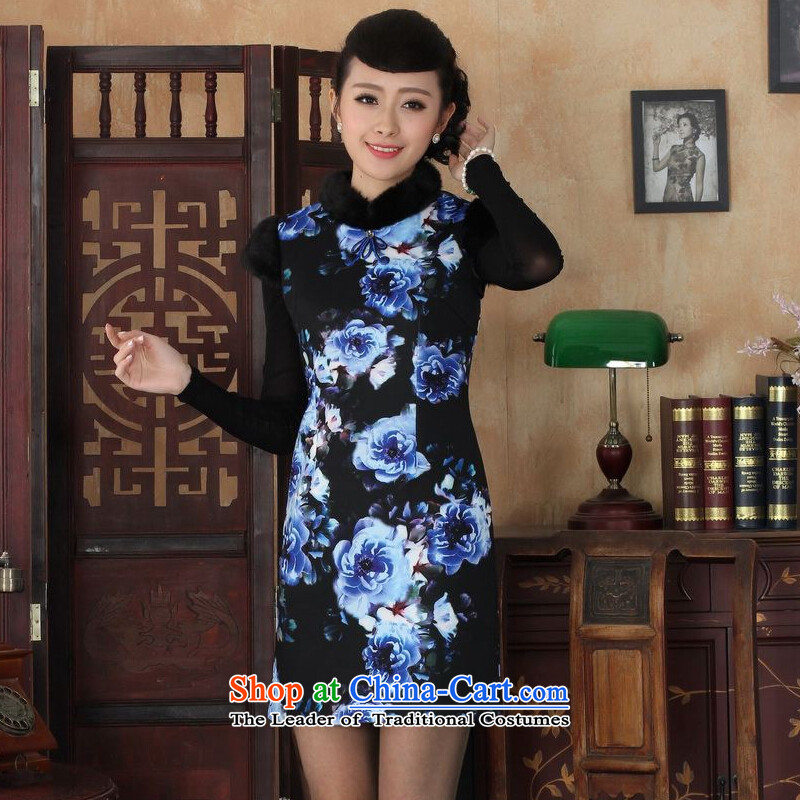 Ms Au King Mansion to Chinese improved cheongsam dress short skirt for winter new superior wool Y0028 qipao picture color Sau San 34_M