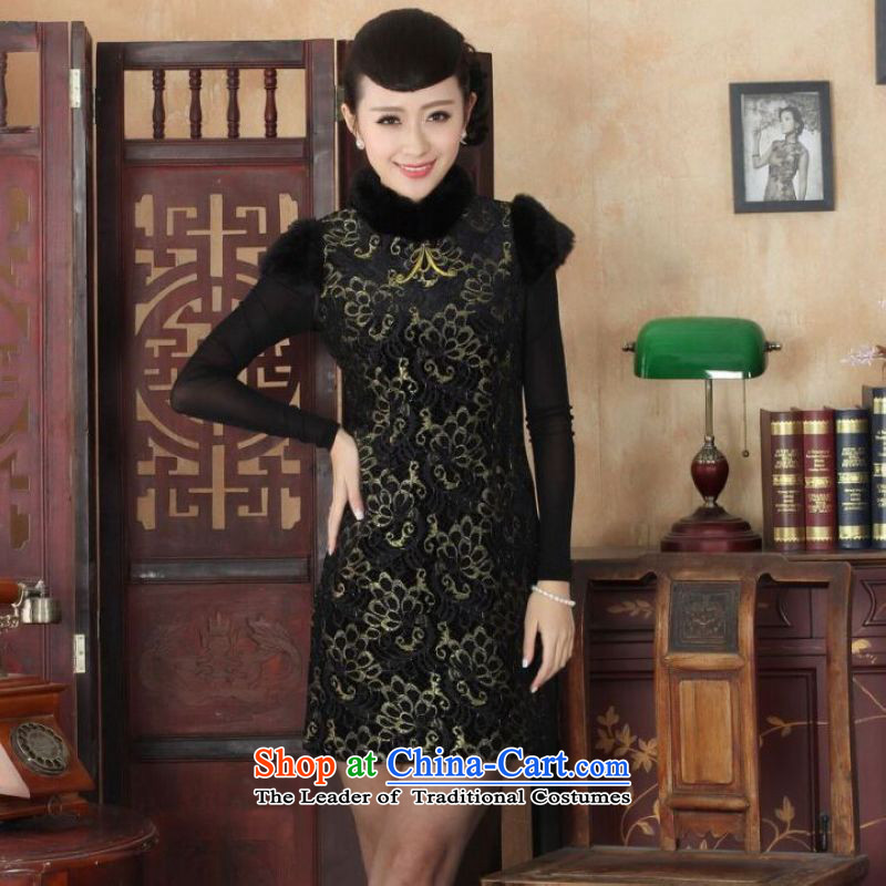 Ms Au King Mansion to Chinese improved cheongsam dress short skirt for winter new superior ELASTIC LACE cheongsam dress Kim scouring pads Sau San?Y0025?34/M black