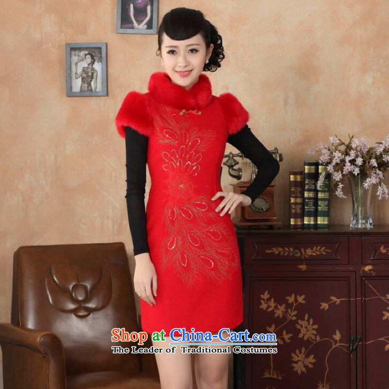 Ms Au King Mansion to Chinese improved cheongsam dress short skirt for winter new retro-l'oeil embroidery cheongsam?Y0030 cotton Sau San?40/XXL red