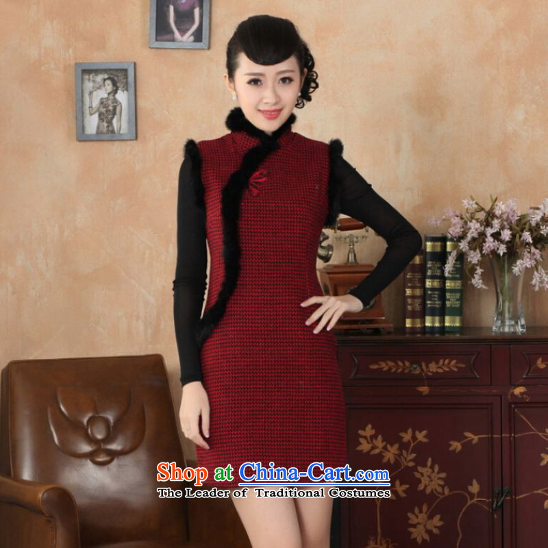 Ms Au King Mansion to Chinese improved cheongsam dress short skirt for winter new improved grid wool is reminiscent of the rabbit hair for a qipao Y0031 40/XXL red