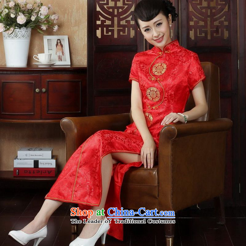 158 Jing Ms. Tang dynasty qipao Mock-neck damask cheongsam dress long skirt聽3XL red