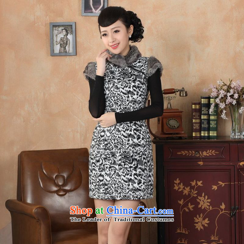 158 Jing Ms. Tang dynasty qipao improved winter cheongsam collar Foutune of dress dresses gray燤