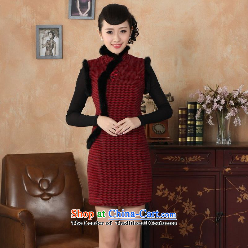158 Jing Ms. Tang dynasty qipao Fall/Winter Collections of nostalgia for the improvement of the new grid wool rabbit hair collar qipao? Red�2XL