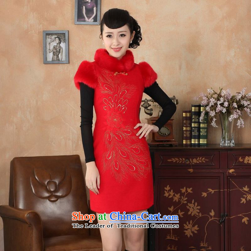 158 Jing Ms. Tang dynasty qipao Fall_Winter Collections of nostalgia for the new improved wool rabbit hair? For embroidery cheongsam Red�L