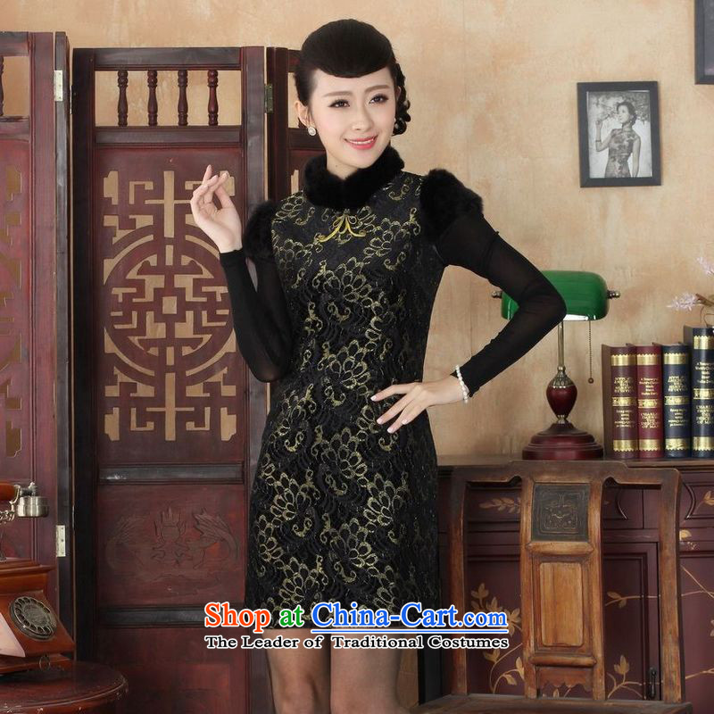 158 Jing Ms. Tang dynasty qipao improved winter cheongsam collar scouring pads plus lace Foutune of dress dresses聽Y0025 map color聽S