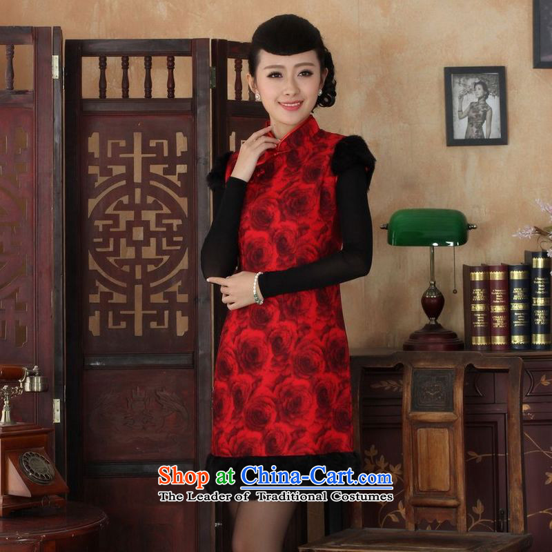 158 Jing Ms. Tang dynasty qipao improved winter cheongsam collar Foutune of dress dresses red?S