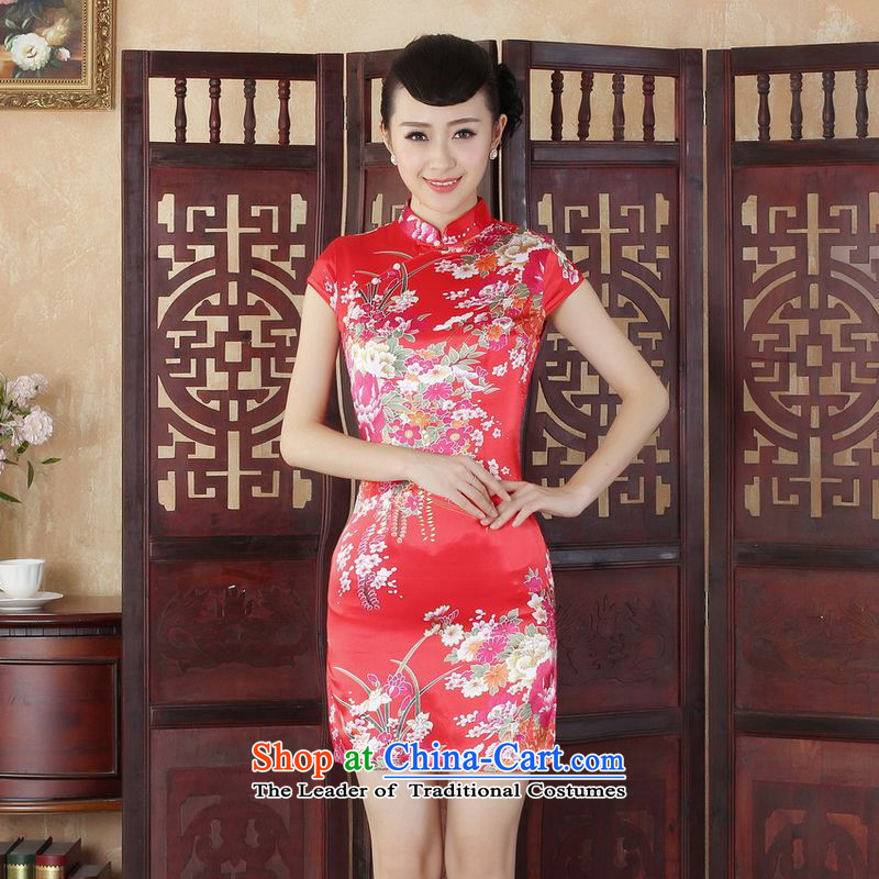 158 Jing Ms. Tang dynasty qipao improved summer qipao Mock-neck peony flowers dress dresses -B RED L