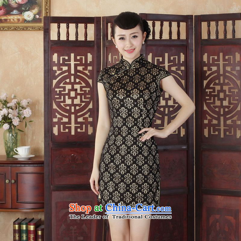158 Jing Lady Jane Nga stylish improved Sau San lace short cheongsam dress of Chinese cheongsam dress suit the new?-A black?M