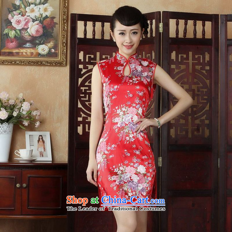 158 Jing Ms. Tang dynasty qipao improved summer collar is pressed qipao stamp Foutune of dress dresses燡5023 Red�L