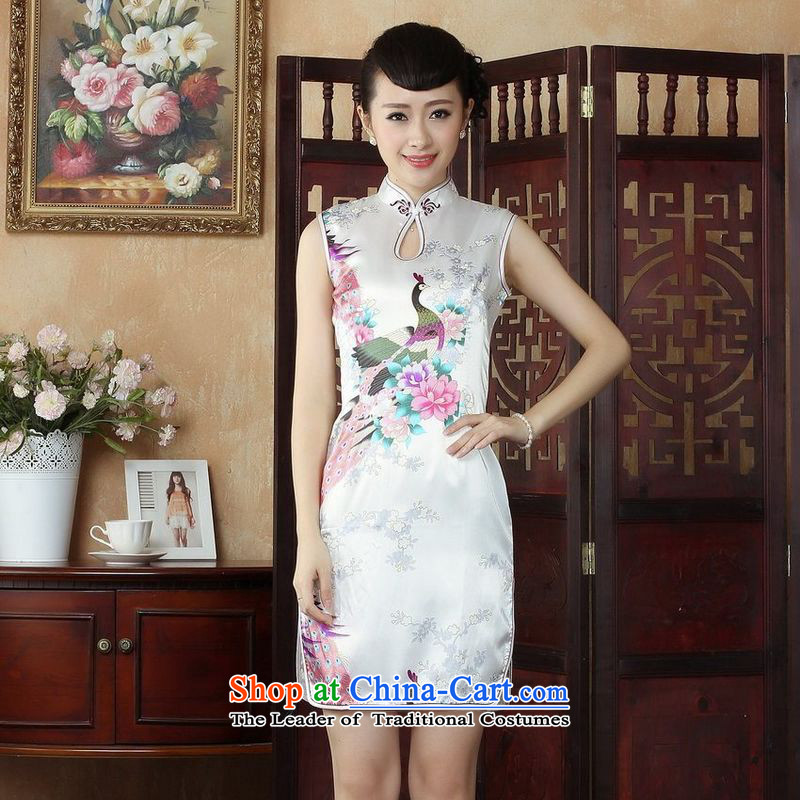 158 Jing Ms. Tang dynasty qipao improved summer collar is pressed qipao peacock cheongsam dress short skirt?J5143 white?S