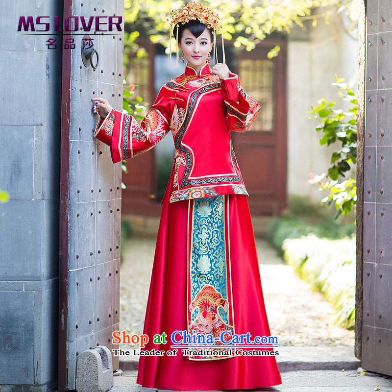 燭he Gradual Bong-New Chinese mslover costume bride-hi-long-sleeved retro collar wedding dress uniform Soo Wo Service bows XH141201 red燬
