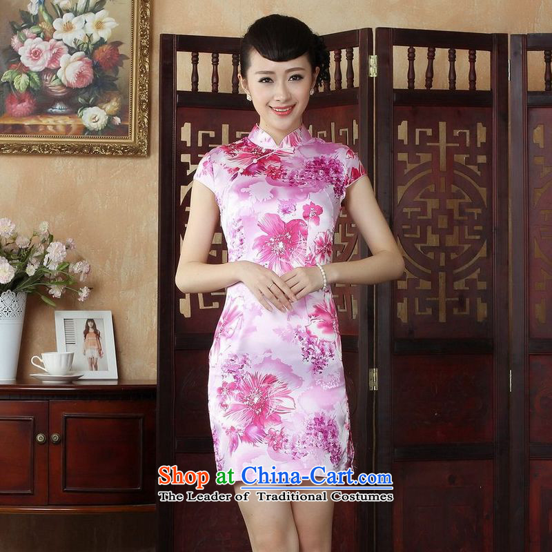 158 Jing Ms. Tang dynasty qipao improved summer collar Sau San dresses cheongsam dress pink 2XL