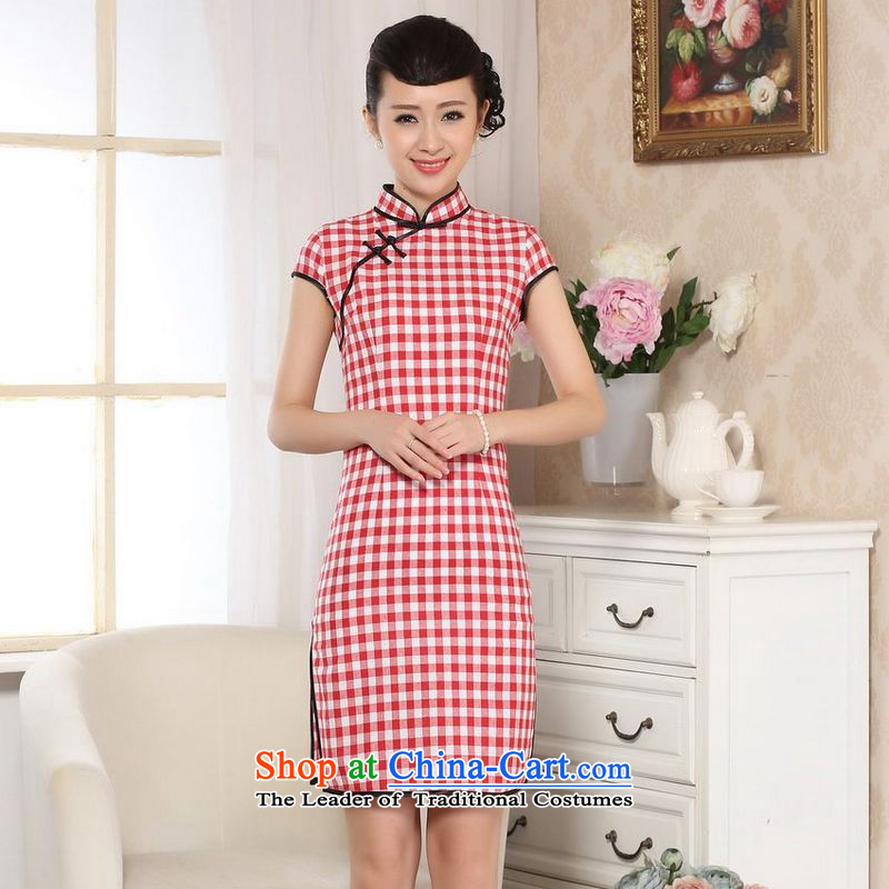 158 Jing cotton linen retro checked short-sleeved qipao improved day-to-Republic of Korea Women's Summer linen cheongsam dress燚0247 emblazoned with the Red Grid�L