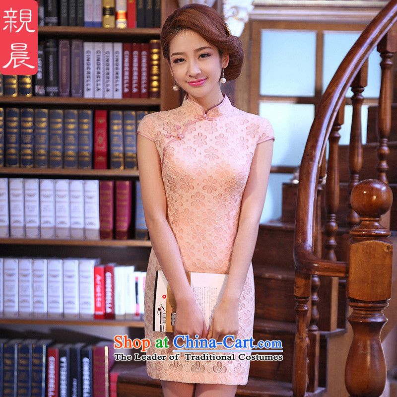 At 2015 new parent in summer and autumn replacing bridesmaid Stylish retro daily improved lace short, temperament cheongsam dress pink L-75cm silk embroidery created from the waist