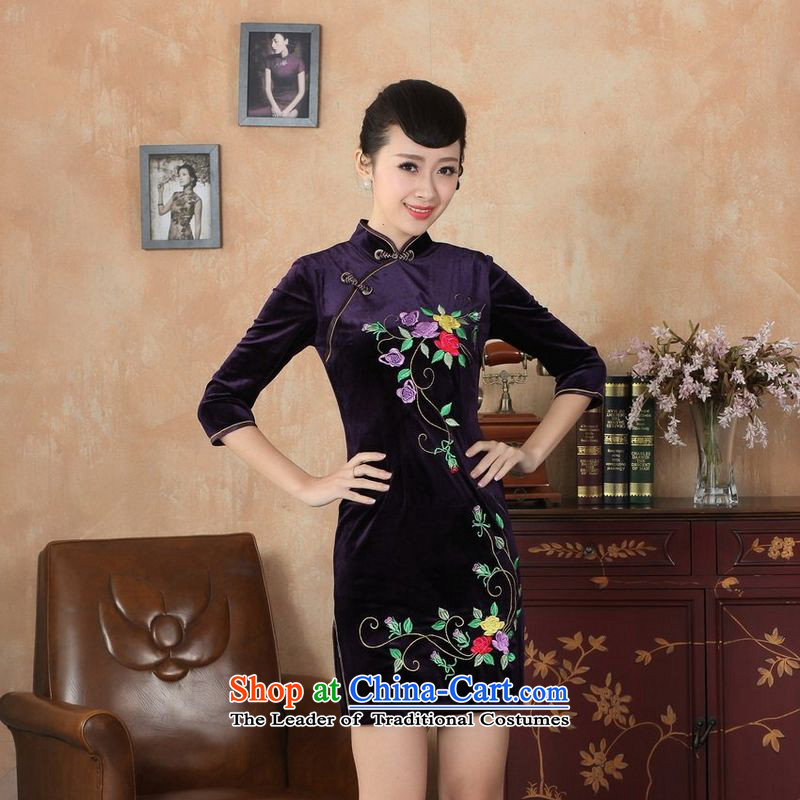 158 Jing new Superior Stretch Wool qipao seven gold Autumn and Winter, dresses cuff dresses -B purple L