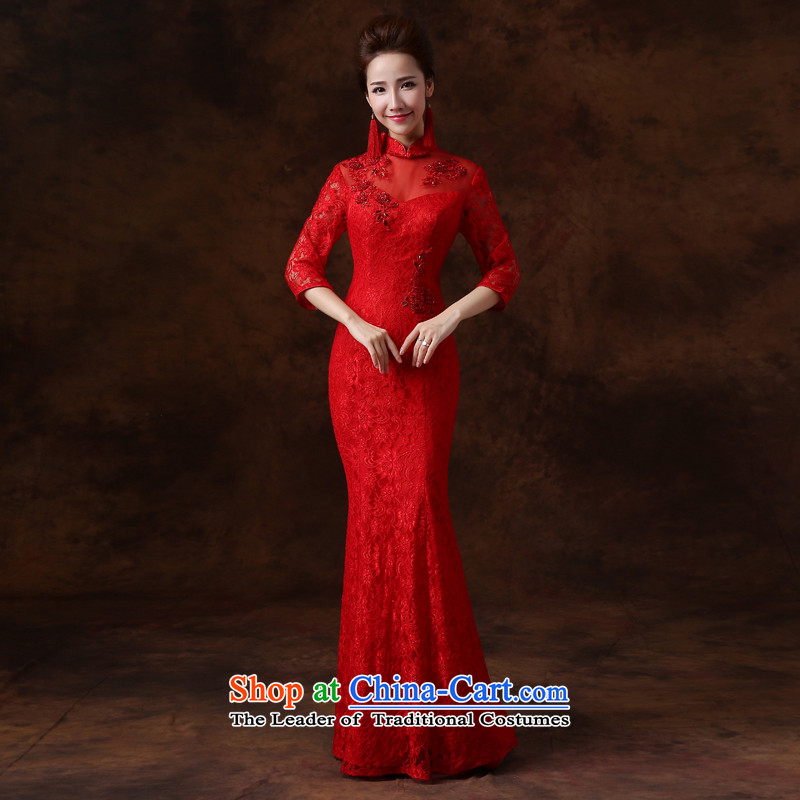 Jie mija bows Service Bridal Fashion cheongsam 2015 new red lace long sleeves, marriages bows services?L