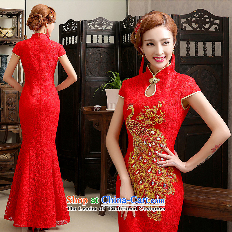 Noritsune bride long antique dresses?2014 new chinese red flag wedding dress wedding services improved qipao crowsfoot bows pregnant women given clothes red?XL