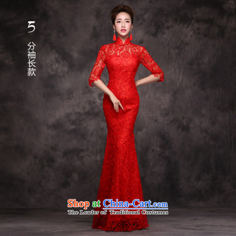Jie mija qipao new 2015 improved wine red stylish lace marriages bows dress uniform crowsfoot autumn and winter female red S