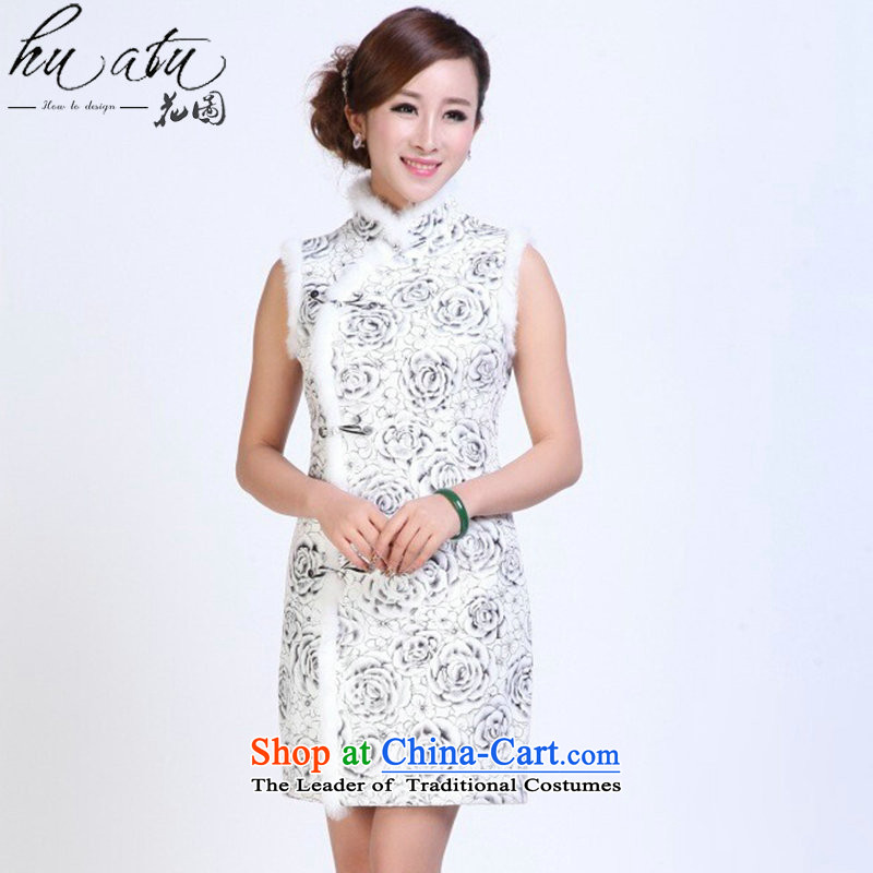 Floral autumn and winter cheongsam dress Tang Dynasty Chinese collar skin rabbit hair improved qipao thin elegant qipao gown picture color annual XL